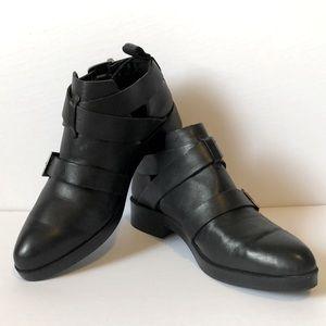 ZARA buckle strap black leather peek-a-boo booties